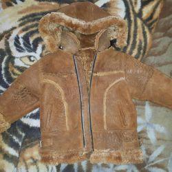 Sheepskin coat for children, natural