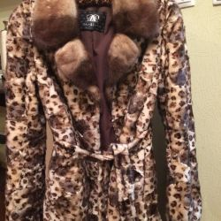 Fur coat mink leopard as a gift hat + mittens❗️