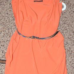 Φόρεμα πορτοκαλί (Zara Basic)