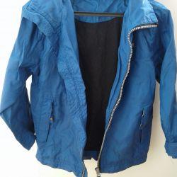 Blue windbreaker with a hood (unisex)