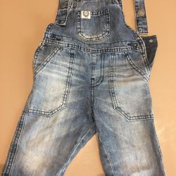 Denim overalls for a boy 1-2 years old