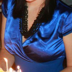 Красивое вечернее синее платье