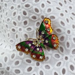 Brooch butterfly with enamel