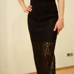 The dress is black lace