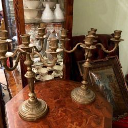 Candle holders 5 horns France antiques