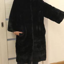 Black lama fur coat