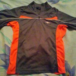 Сорочка з коротким рукавом сіро-помаранчева, рост140