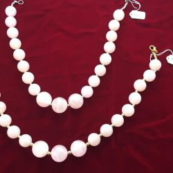 Large beads from natural rose quartz