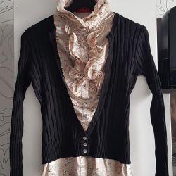 Ραπτική μπλούζα με ζακέτα