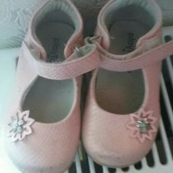 Pink shoes with a bow, leather for children