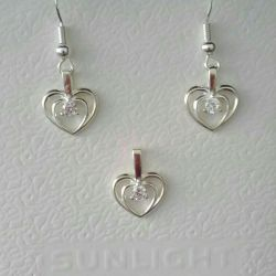 Set earrings + suspension. Silver plated