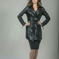 Stylish eco-leather coat
