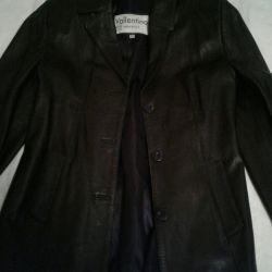 Kadın deri ceket siyah renk