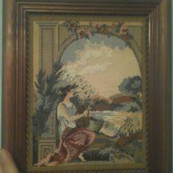 Картина вышитая в багете