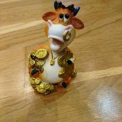 Bull Figure with money, money talisman