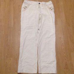 Kadınlar için pantolonlar, keten.
