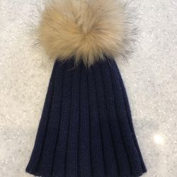 Cap with natural fur pompon 1 - 2 years