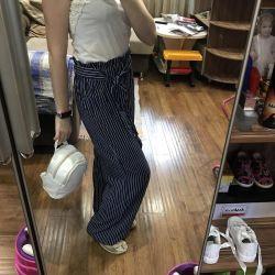 Pantaloni de vară panglici, în formă liberă, dimensiune 42