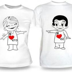 Photos on T-shirts with any inscriptions and pictures