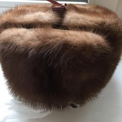 New Hat with earflaps mink brown 2 pcs