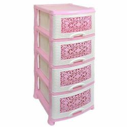 Chest 4 tiers white-pink