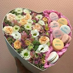 Macarons with flowers - a gift