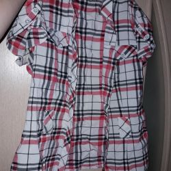 Shirt in striped buttoned with belt