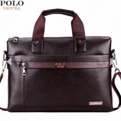 Men's briefcase polo vicuna brown