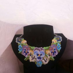 Beaded necklace on a chain