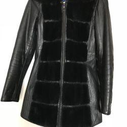 Натуральная кожаная куртка-жилетка с мехом норки