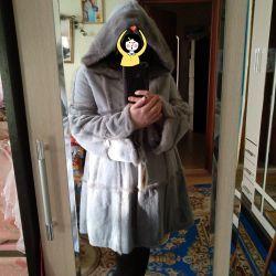 New fur coat muton + mink 50-52 rr