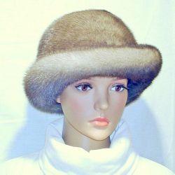 Fur pălărie. Mink, albastru. r.56-57
