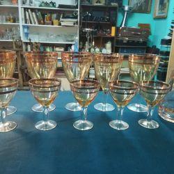Γυαλιά κρασιού, ποτήρια κρασιού και γυαλί αποσταγμάτων USSR vintage