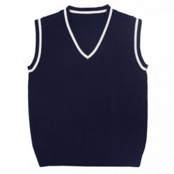 New waistcoats are dark blue to school on the boy