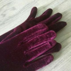 Gloves long velvet and black leather.