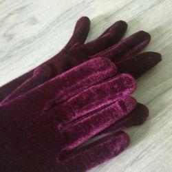Mănuși lungi de catifea și piele neagră