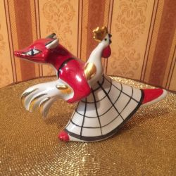 Fox and rooster figurine 1970