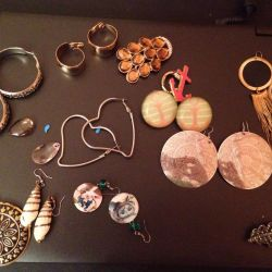 Jewelry earrings, brooches, bracelets, necklaces.