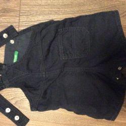 Комбинезон детский синий джинсовый Beneton Новый