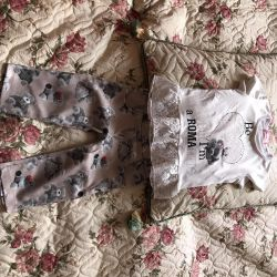 Set (trousers and T-shirt) for girls for 1-2 grams