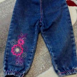 92 cm'ye kadar bir kız için kot pantolon