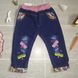Jeans with butterflies. 110cm