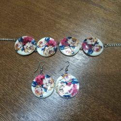 Set: earrings + bracelet