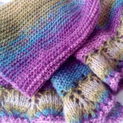 A scarf and a cap made of mohair.