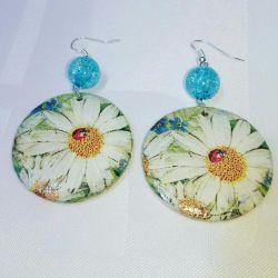 Handmade decoupage earrings