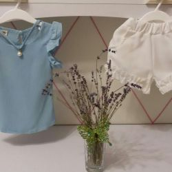 Suit blouse and shorts (new)