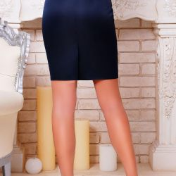 Lacquered pencil skirt