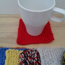 Knitted coasters for cups, glasses