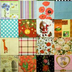 A set of napkins for decoupage paper gifts