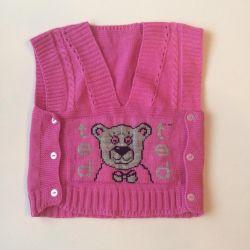 Sleeveless vest children's knitted 74razmer